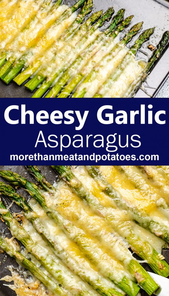 Two stacked photos showing roasted asparagus covered in cheese.