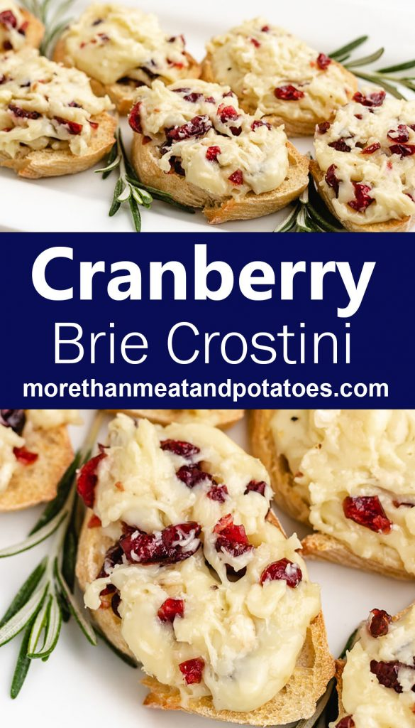 Two stacked photos of the cranberry brie crostini appetizers.