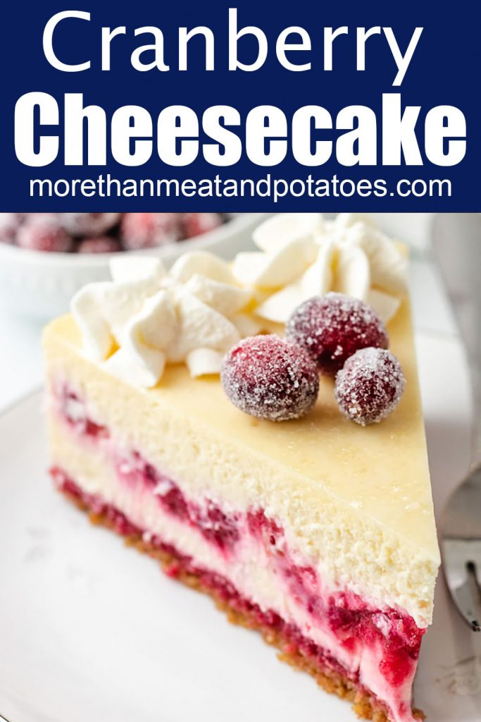 Top down view of a slice of cranberry cheesecake.