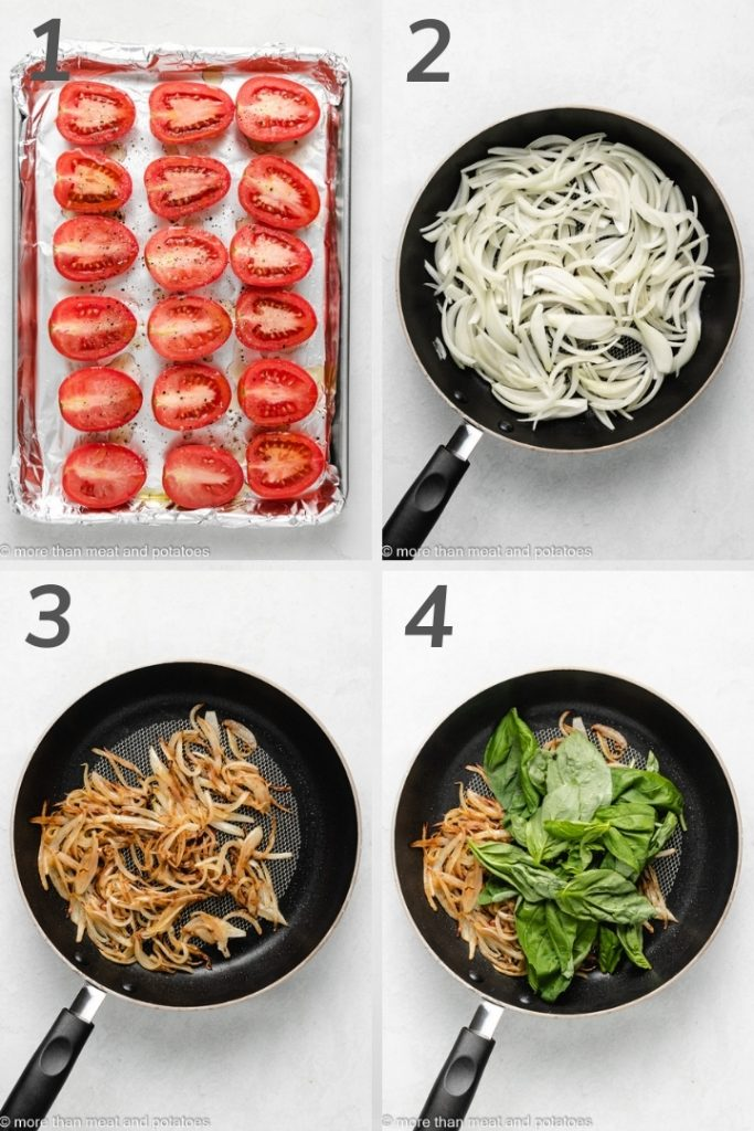 Four numbered photos showing different steps of making tomato soup.
