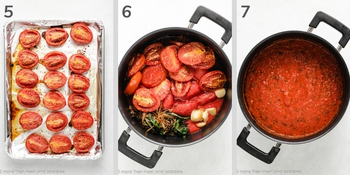 Three collage style photos showing tomatoes in a pan.