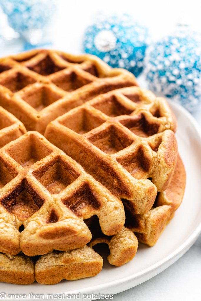 The fresh cooked waffles on a plate.