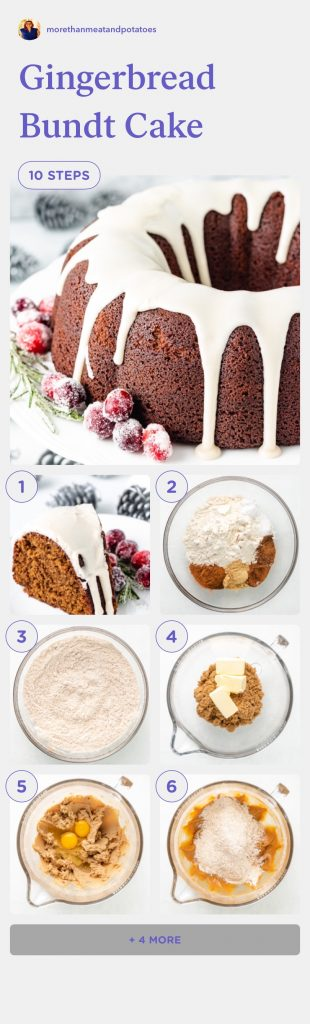Collage of several photos showing how to make a bundt cake.