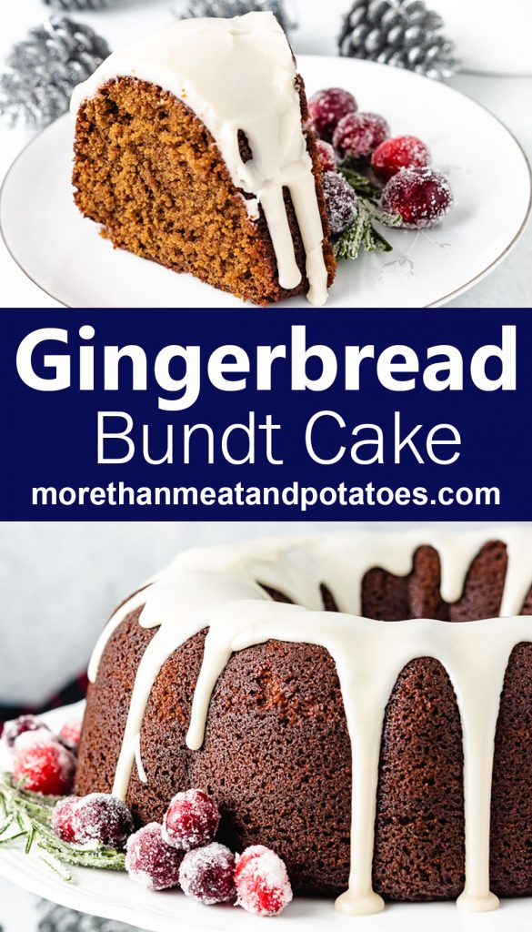 Two photos of bundt cake with sugared cranberries.