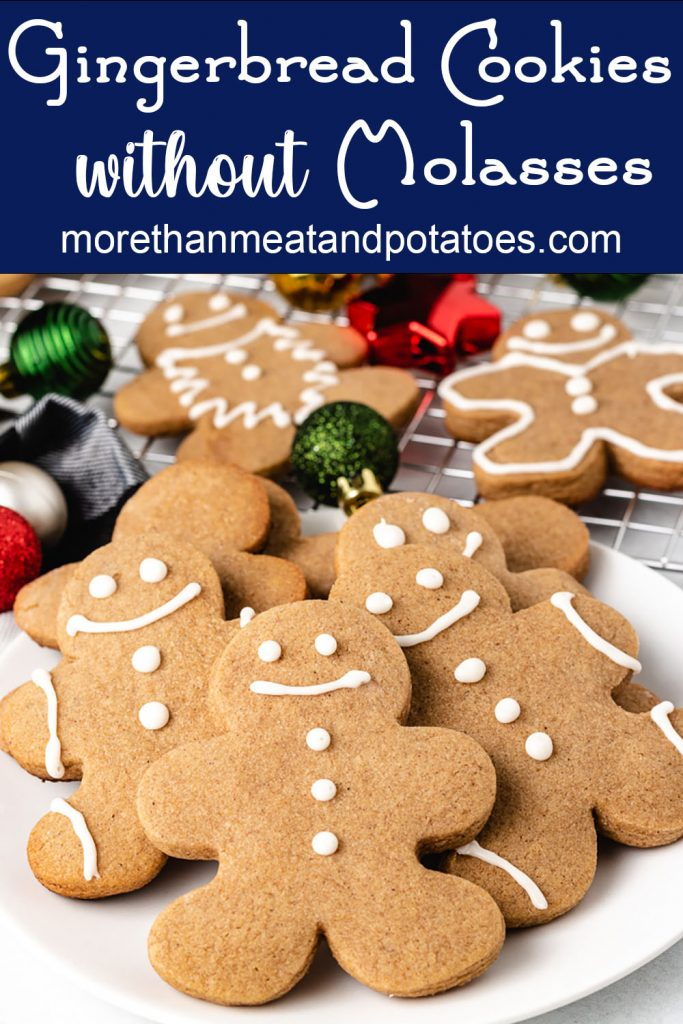 Festive gingerbread cookies made without molasses on a plate.