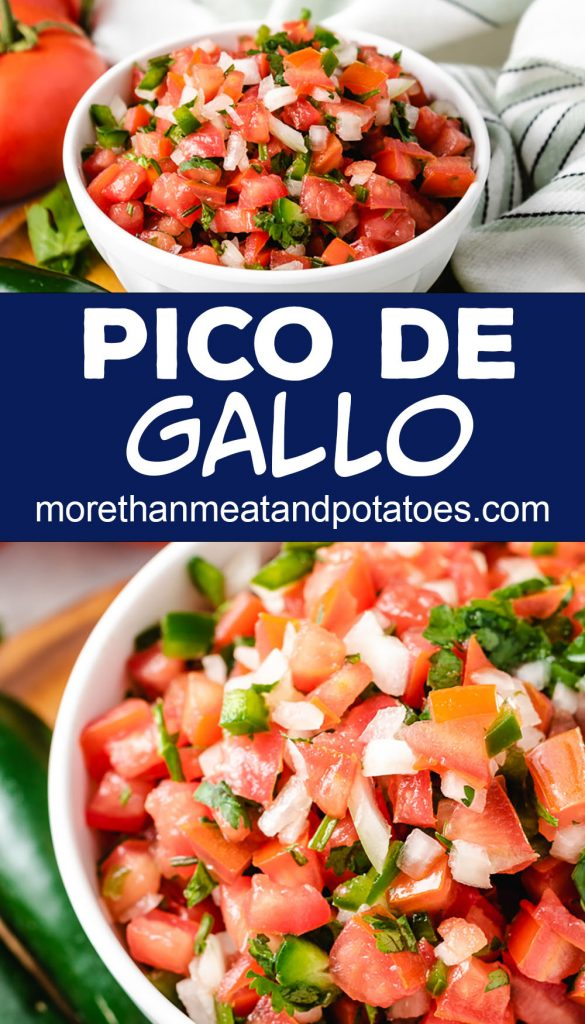 Collage-style photo of pico de gallo with tomatoes.