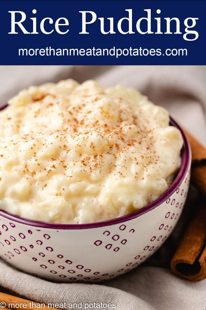 The rice pudding without eggs served with freshly ground cinnamon.