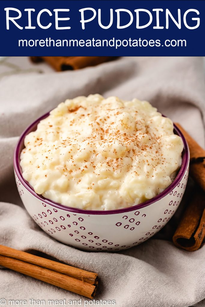 The stovetop rice pudding garnished with cinnamon.