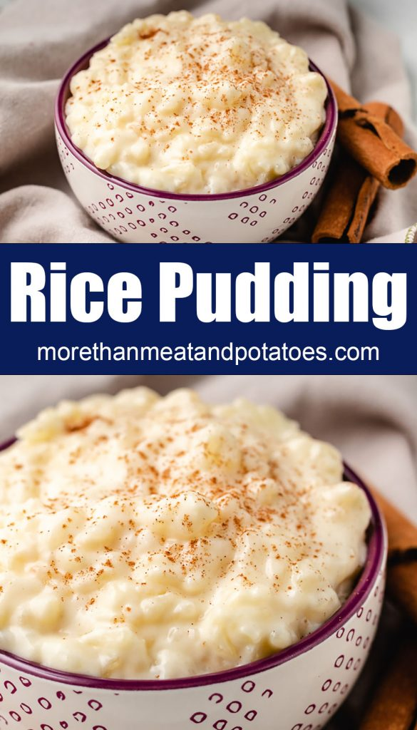 Two stacked photos of eggless rice pudding in bowls.