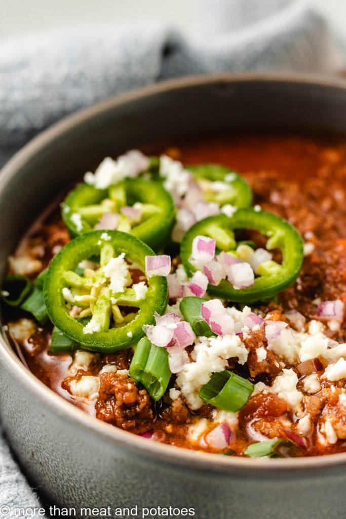Close up of a bowl of chili.
