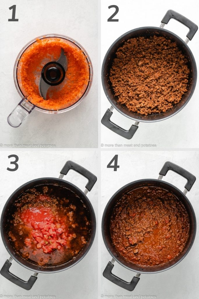 Collage of photos showing how to make chili.