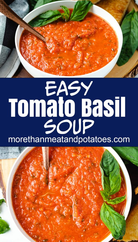 Two bowls of tomato basil soup with fresh basil.