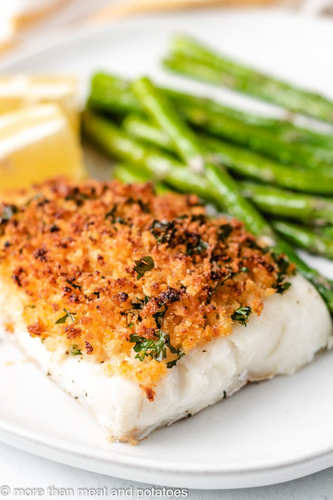 Oven baked fish with asparagus.