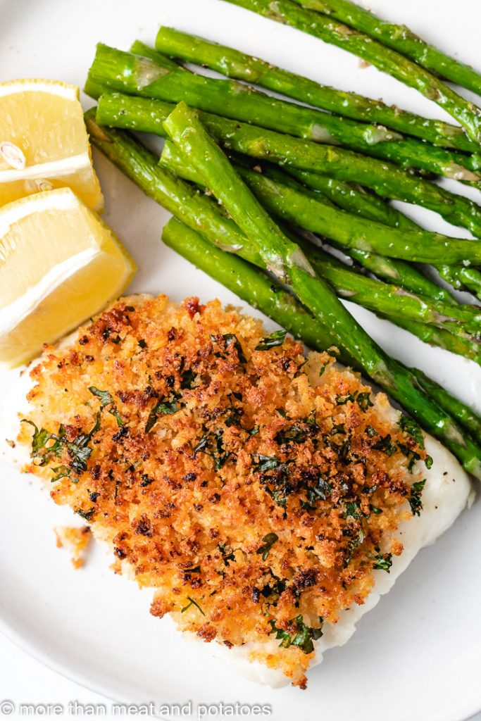 Top down photo of panko crusted cod.