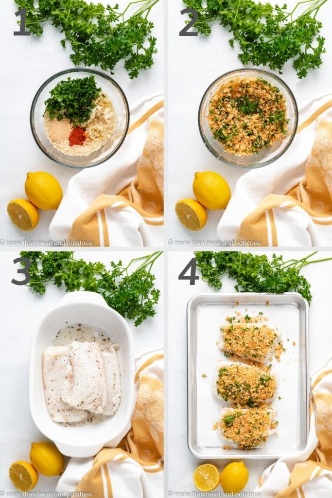 Four photos showing the steps of how to make baked cod with panko breadcrumbs.