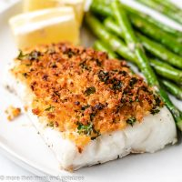 Baked cod with panko and asparagus.