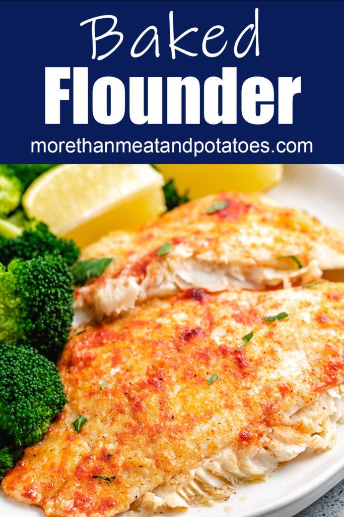 Flounder fillets with fresh lemon wedges.
