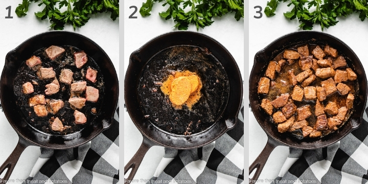 Three step-by-step photos showing how to make cajun butter steak bites.