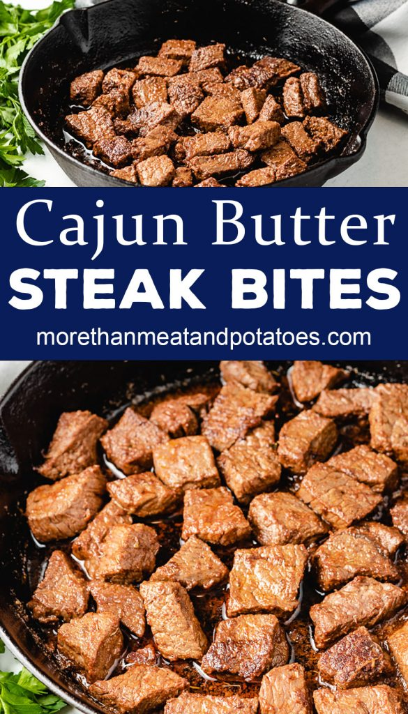 Two photos of Cajun steak bites in a skillet