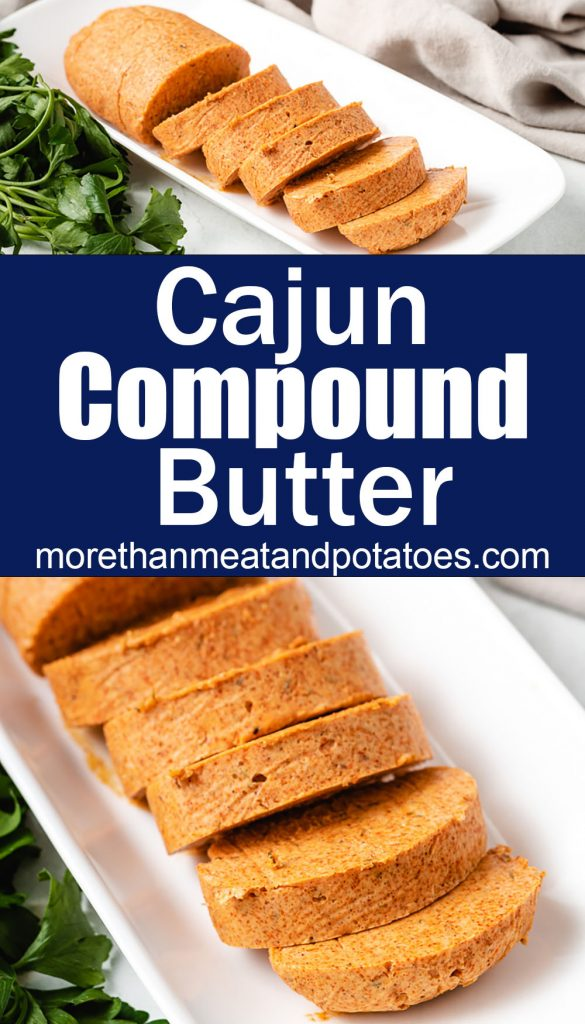 Two photos of cajun compound butter on a white plate.