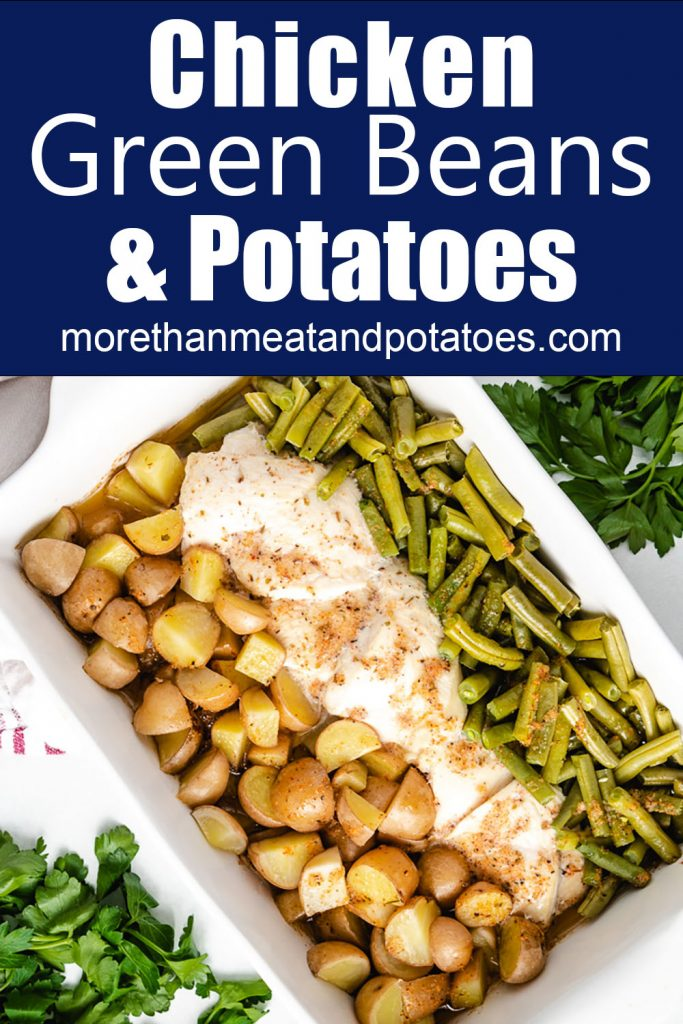 Top down photo of chicken with potatoes and green beans.
