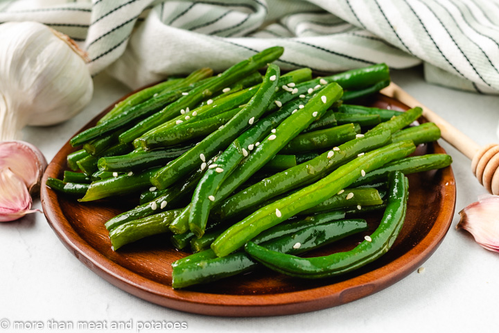 Honey Garlic Green Beans with sesame seeds.