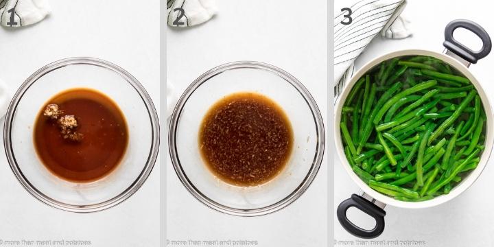 Three photos showing how to make honey garlic sauce.