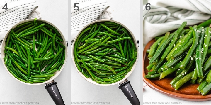 Three collage photos showing how to make Honey Garlic Green Beans.