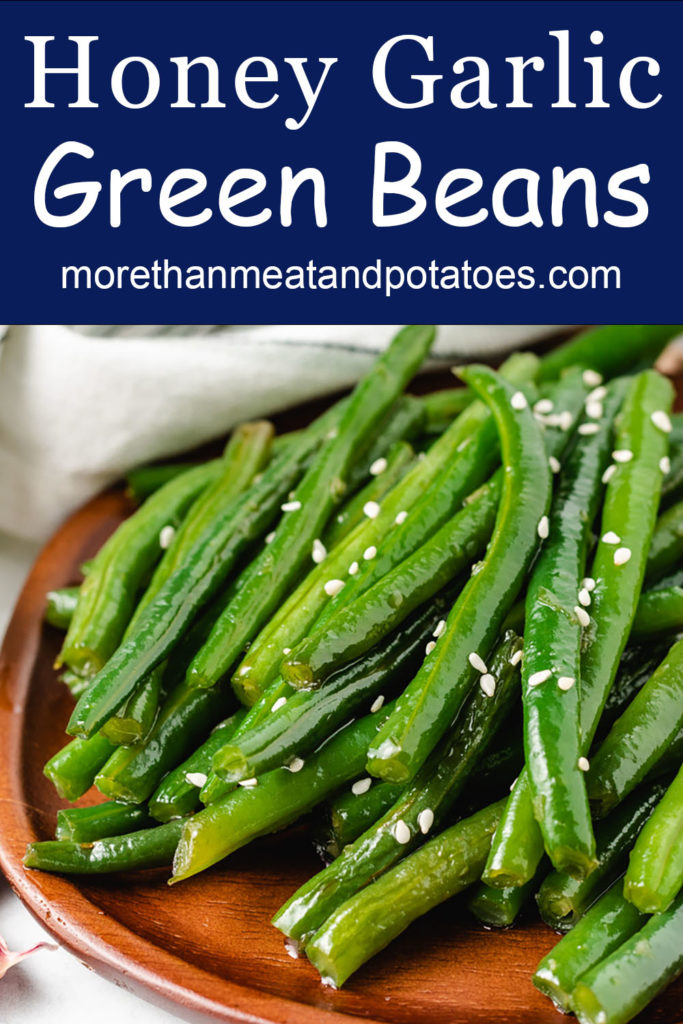 Close up of sautéed green beans.