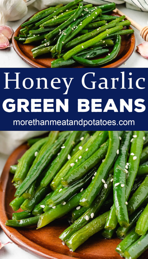 Two photos of Honey Garlic Green Beans on bamboo plates.