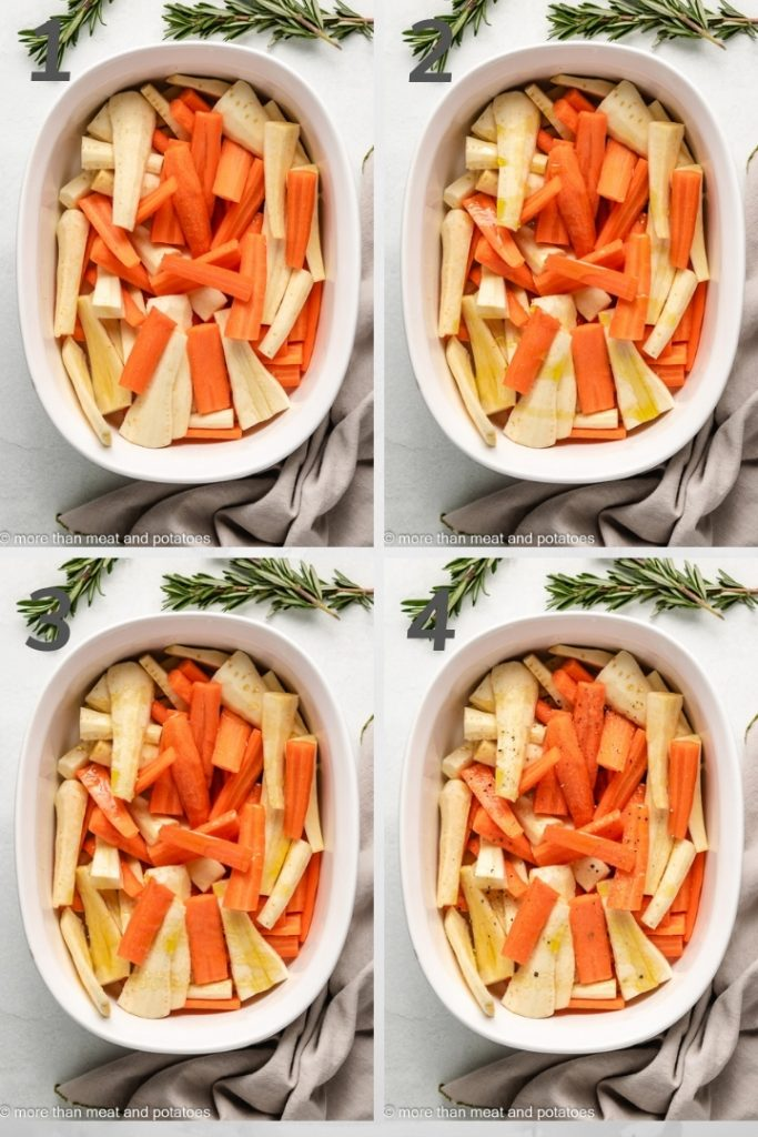 Four photos in a collage showing how to honey roasted vegetables.