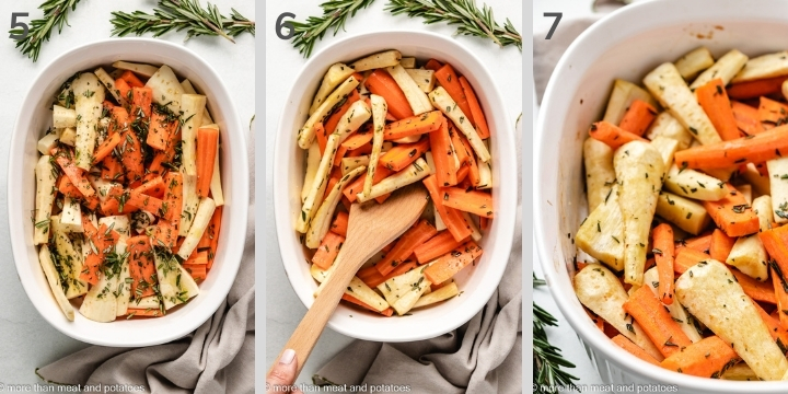 Three collage-style photos of how to make honey roasted parsnips.