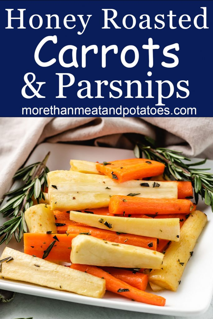 Roasted carrots and parsnips on a square plate.