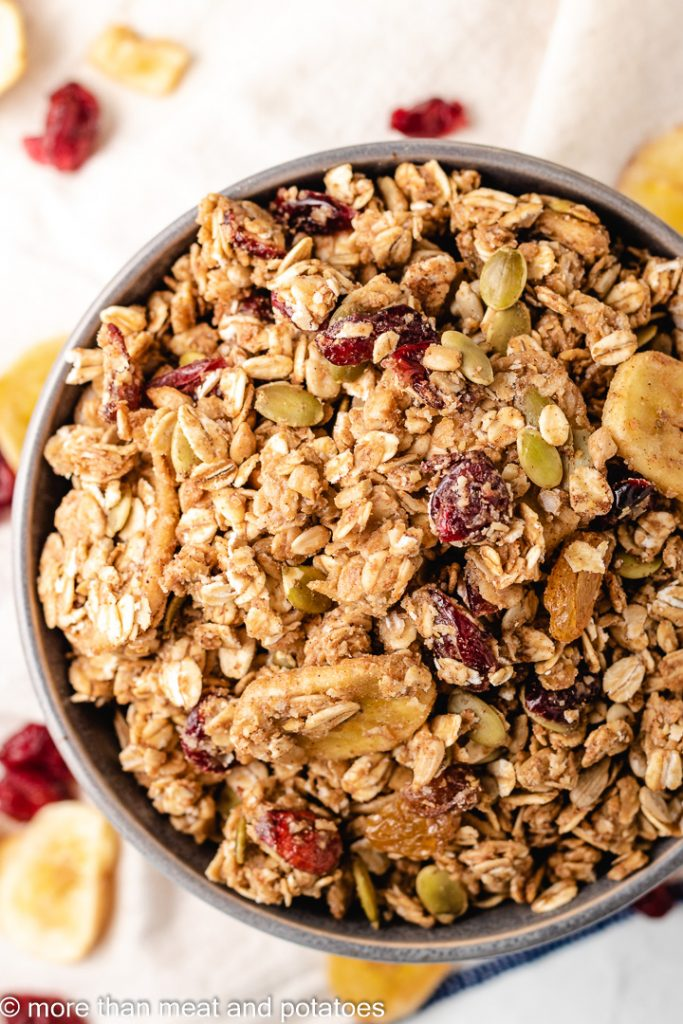 Close up photo of homemade granola in a bowl.