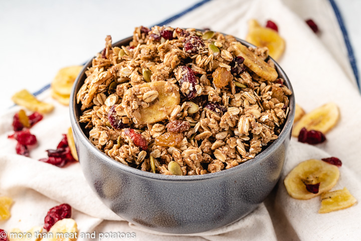 Nut free granola in a gray bowl.