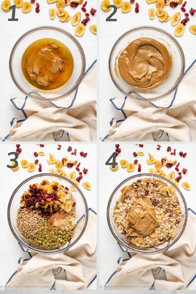 Four photos in a collage showing how to make granola.