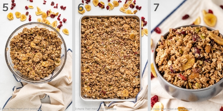 Three collage-style photos of how to make nut free granola.