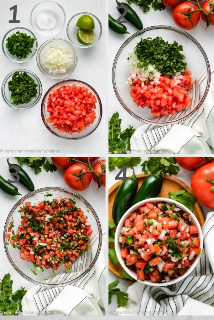 Four images in a collage showing the steps of how to make pico de gallo.