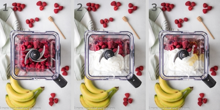 Three photos showing the first steps to make a raspberry smoothie.