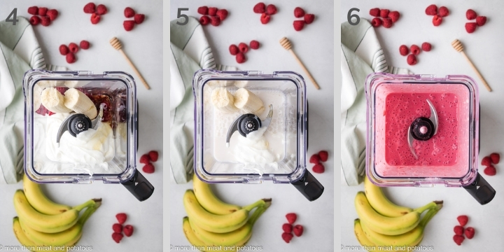 Three photos showing the last steps in how to make a raspberry smoothie.
