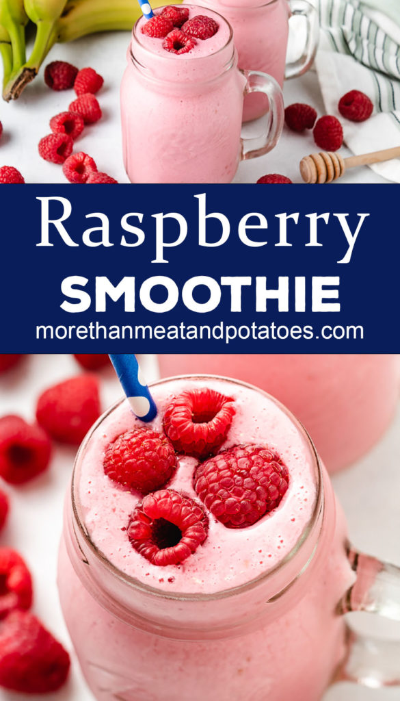 Two photos of raspberry smoothie with fresh berries.