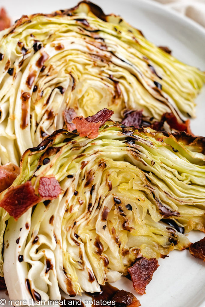 Close up of baked cabbage and bacon.