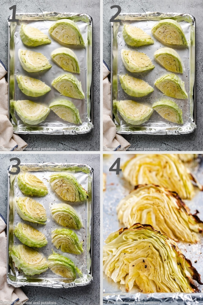 Collage style image showing how to makeRoasted Cabbage Wedges.