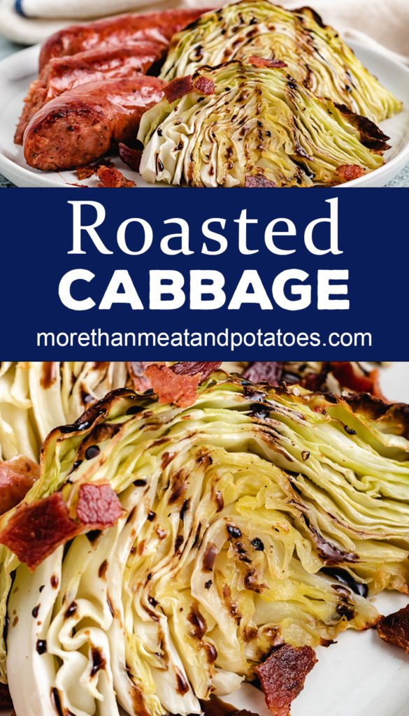 Collage style photos with roasted cabbage and sausage.