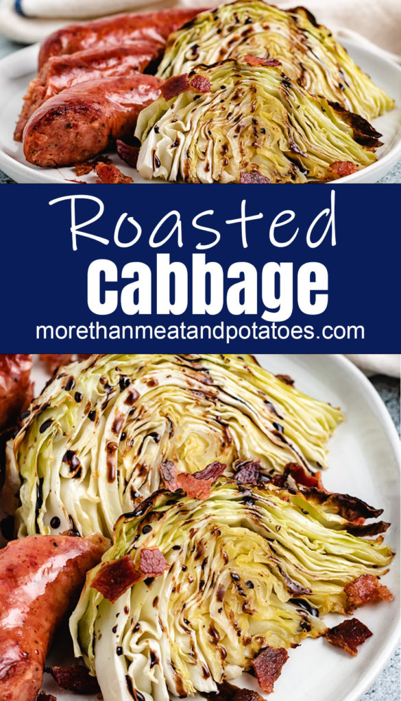 Cabbage wedges on plates with sausage links.