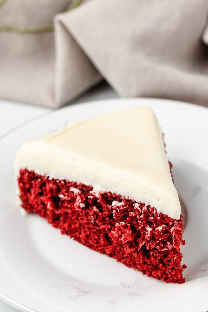 Red velvet cake with cream cheese frosting.
