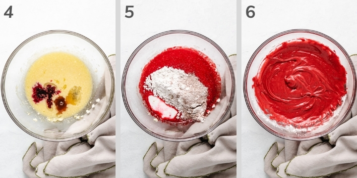 Three collage-style photos of how to make a small red velvet cake.