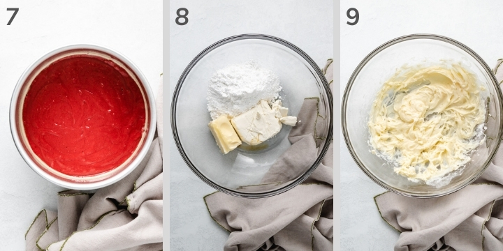 Three collage-style photos of how to make cream cheese frosting.