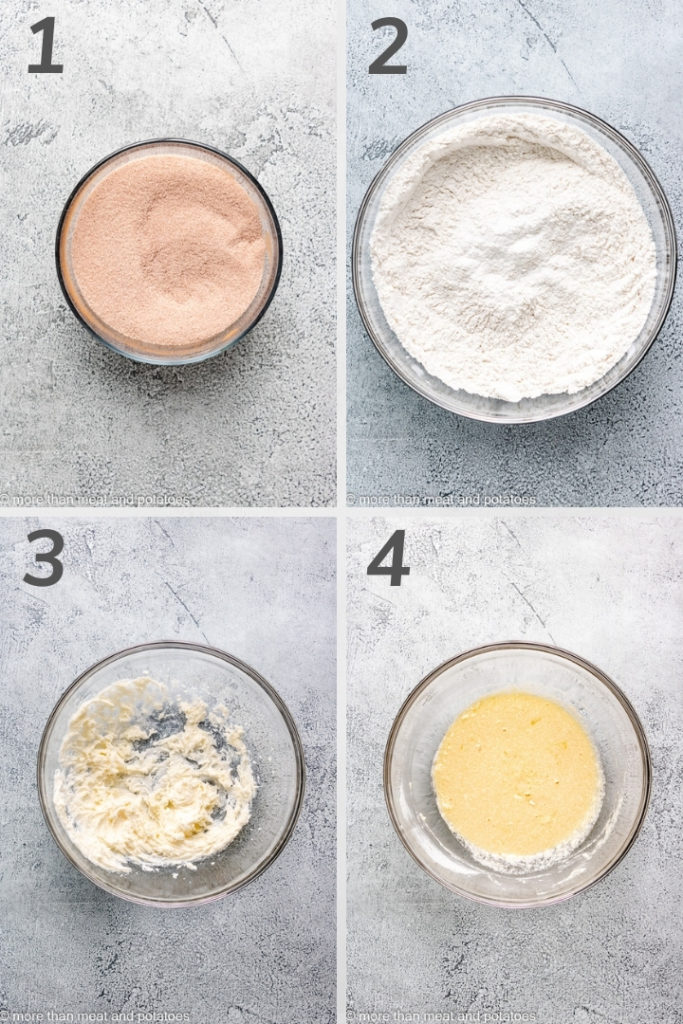 Collage of four photos showing how to make dough for donuts.