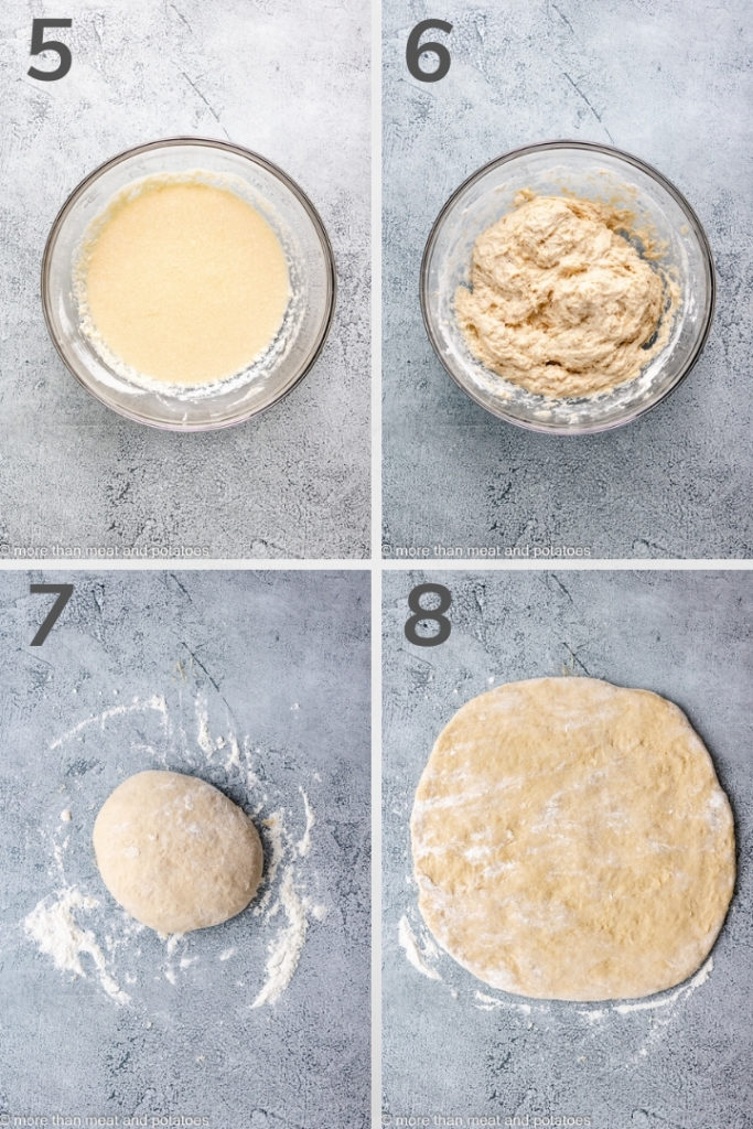Collage of four photos showing how to mix the dough for sourdough doughnuts.